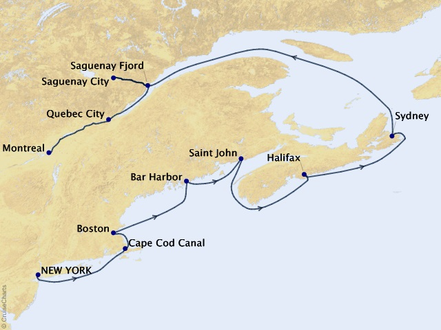 10-night Canada and New England Cruise Map