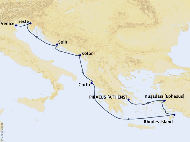 9-night Mediterranean Cruise Itinerary Map