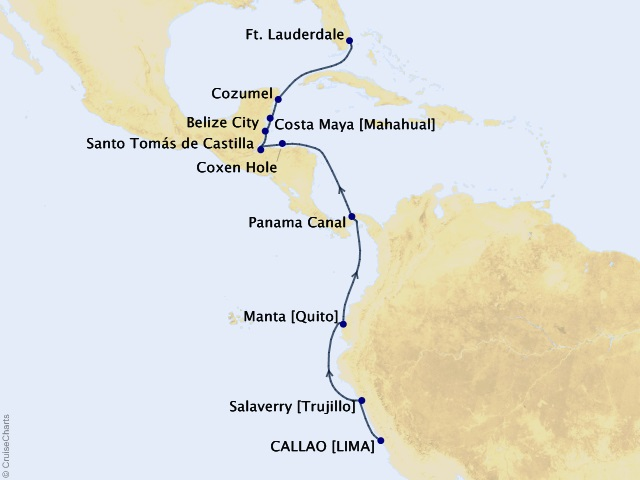 16-night South America Cruise Map