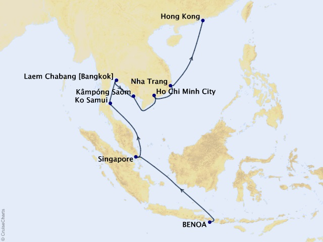 15-night Radiance of Thailand Cruise Map