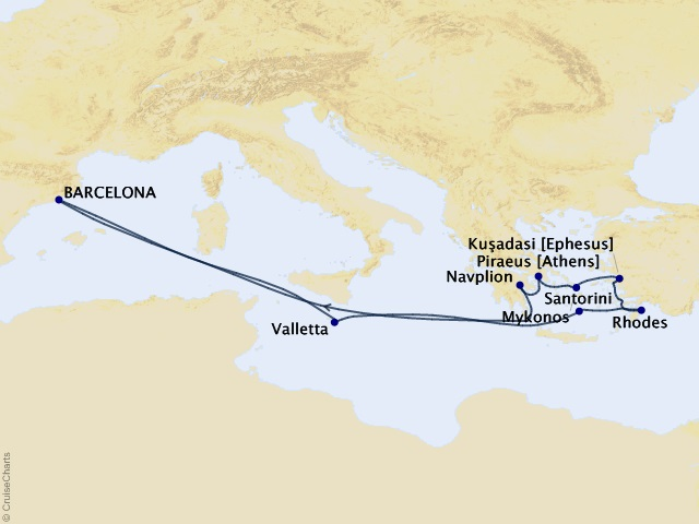 12-night Spain, Malta, and Greek Islands Cruise Map