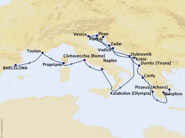 17-night Western Europe & Spanish Splendors Cruise Map