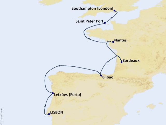 11-night Wine and Culture Voyage Map
