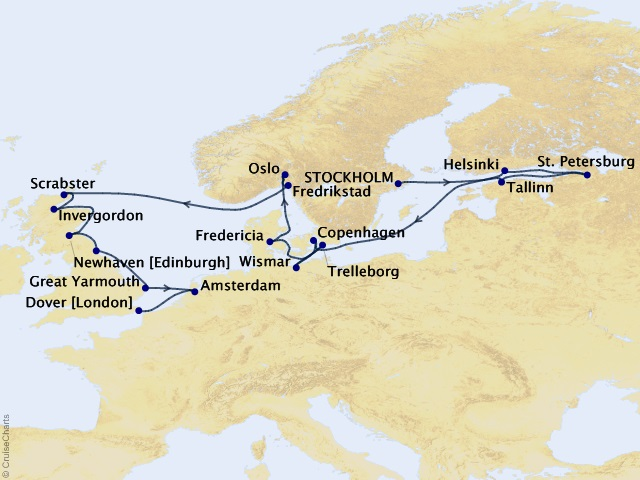 21-night Baltic and Northern Gems Cruise Map