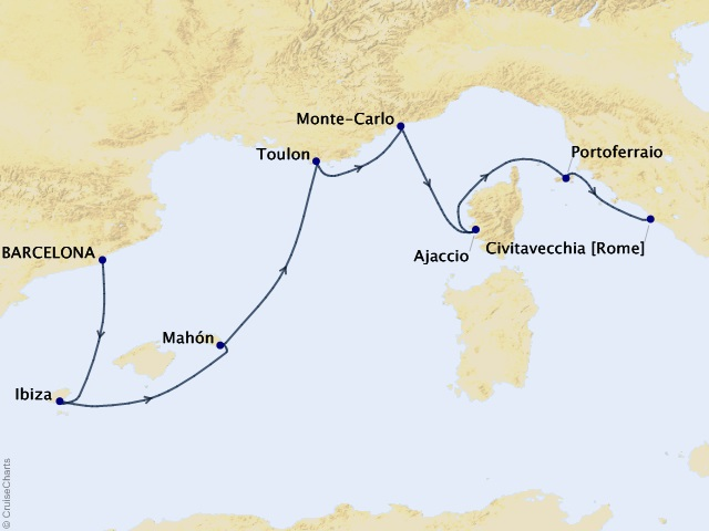 7-night Riviera Spring Cruise Map