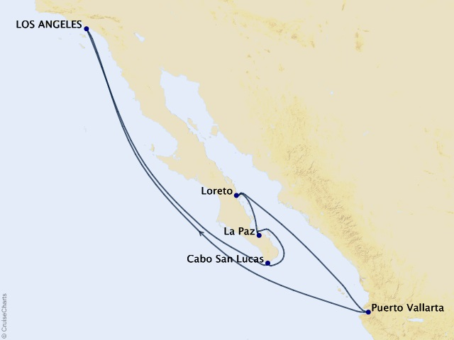 10-night Baja Peninsula and Sea of Cortez Cruise Itinerary Map