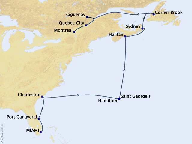 15-night Eastern Seaboard Delight Cruise Map