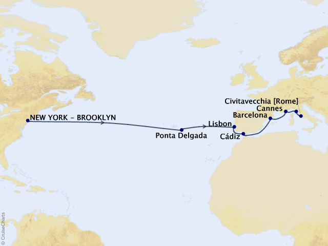 14-night Portugal, Spain, France, and Italy – Transatlantic Treasures Cruise Map