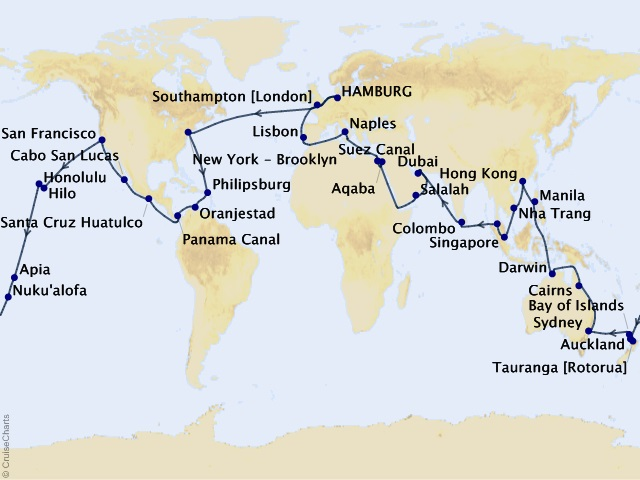 105-night 2023 Centenary World Voyage Map