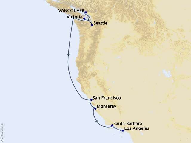 8-night Pacific Gold Coast Cruise Map