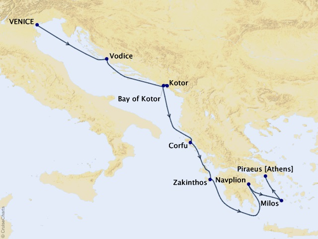 7-night Adriatic and Greek Glories Cruise Map