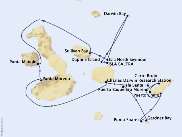 7-night Galápagos Islands Cruise Itinerary Map