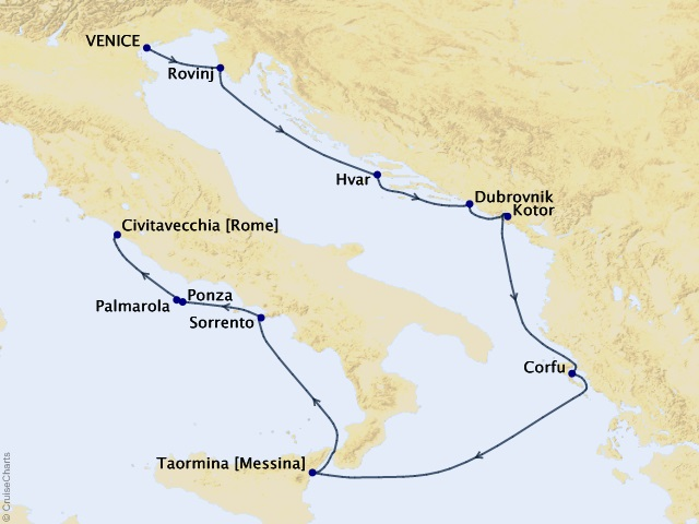 10-night Italy, Montenegro, and Croatia Cruise Map