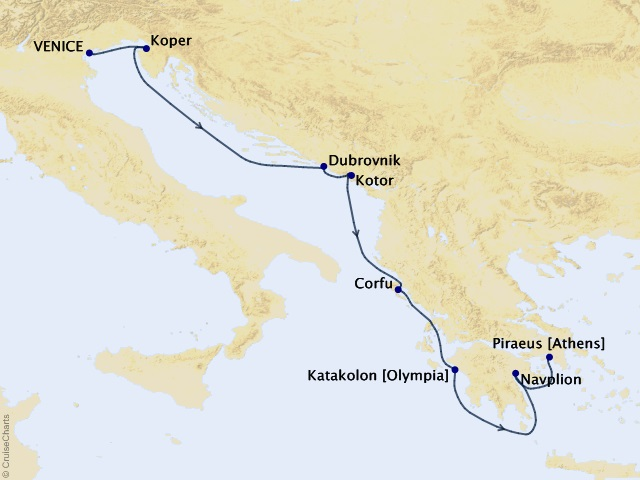 9-night Italy to Greece Voyage Map