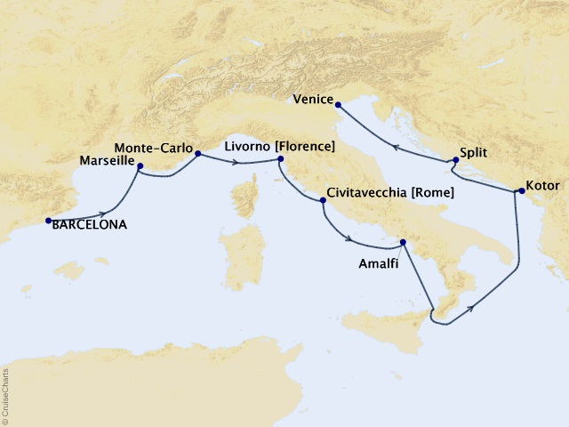 10-night Jet Set Mediterranean Cruise Map