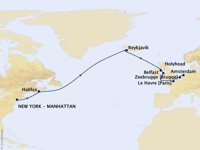 15-night Iceland, British Isles, Belgium, and France from New York Cruise Itinerary Map