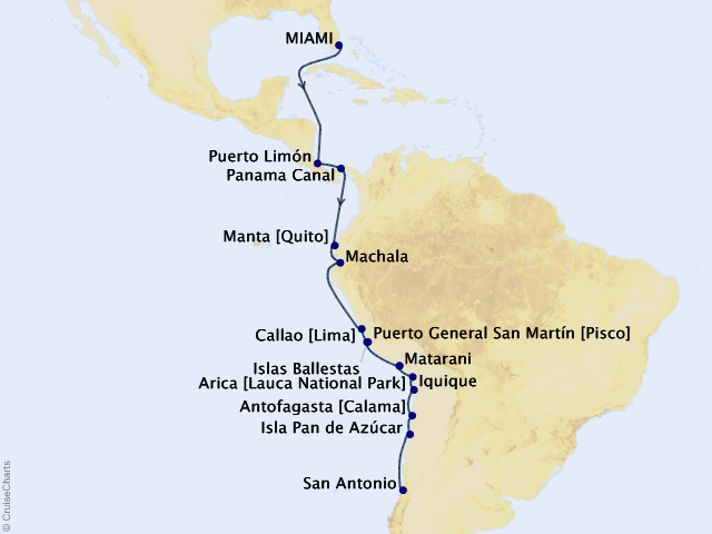 22-night Panama Canal and South America Cruise