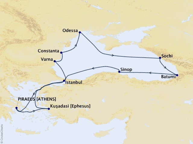 14-night Black Sea Intensive Voyage Map