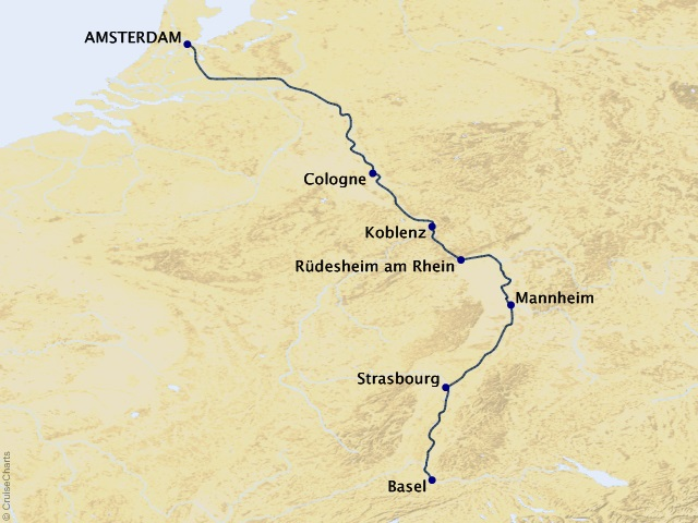 7-night Romantic Rhine River Cruise Map