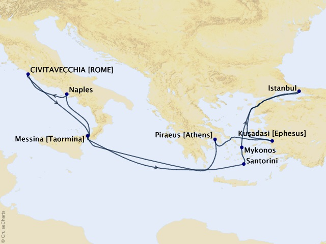 11-night Italy, Turkey, and Greek Islands Cruise Map