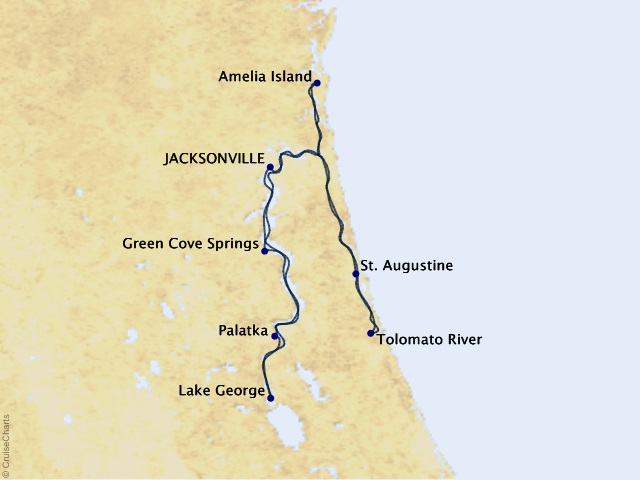 7-night Great Rivers of Florida Cruise Map