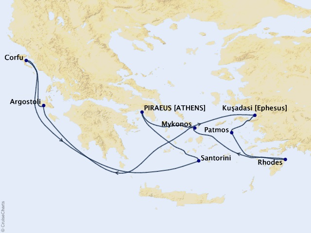 7-night Greek Isles Round-trip Athens – Santorini, Mykonos, and Rhodes Cruise Map