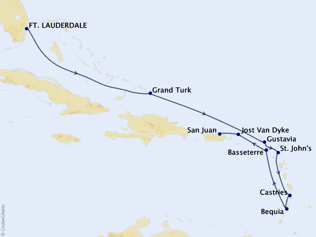 10-night Eastern Caribbean Cruise Itinerary Map