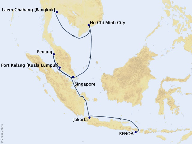 14-night Culture & Cuisine of Asia Cruise Map
