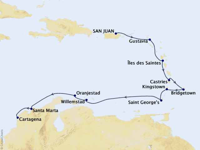 12-night Tropical Marvels Cruise Map