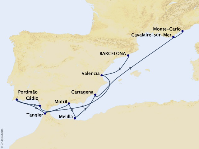 11-night Spanish Magic & Morocco Cruise Map