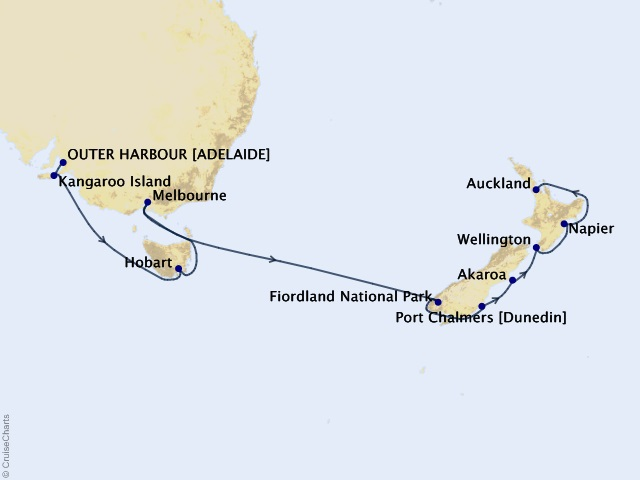 14-night New Zealand & Tasmania Cruise Map