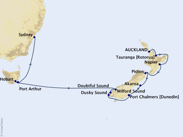 16-night New Zealand Grandeur Cruise Map