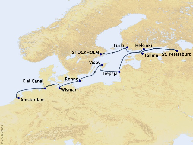 12-night Boundless Baltic Voyage Map