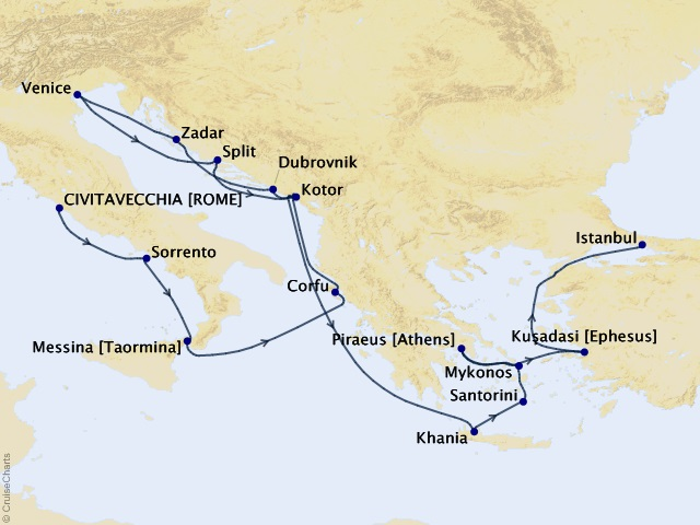 17-night Enduring Antiquity Voyage Map
