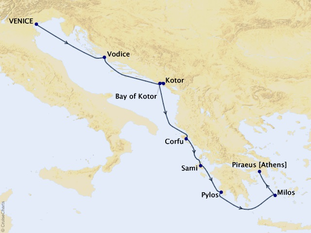 7-night Adriatic & Greek Glories Cruise Map