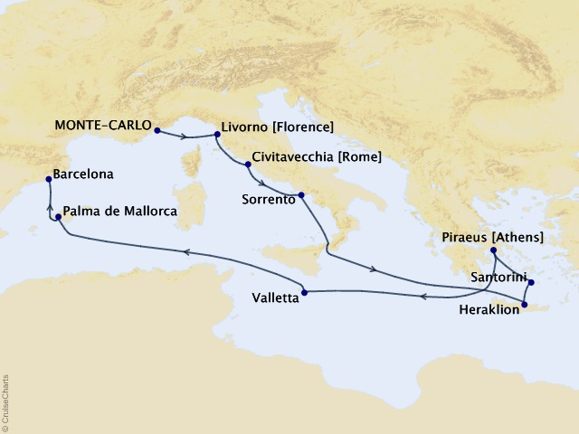 12-night Mediterranean Crossroads Voyage Map