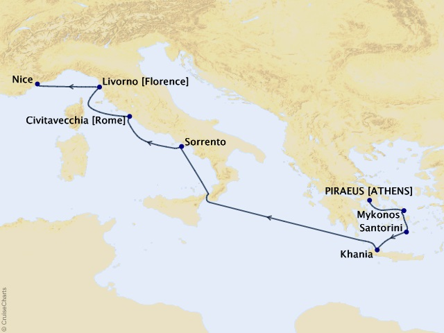 9-night Greece and Italy Pursuit Voyage Map