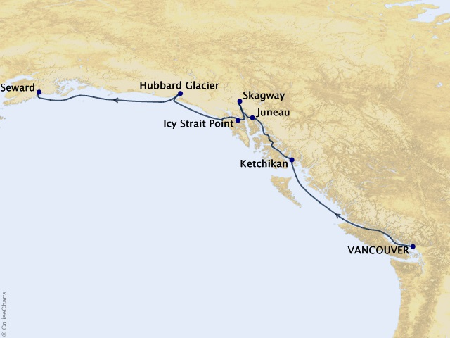 7-night Vancouver to Seward Cruise Map