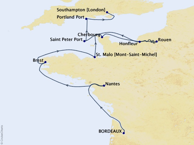 12-night France Intensive Voyage Map