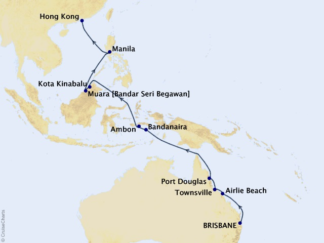 Exotic Isles of Southeast Asia - World Segment Cruise Map