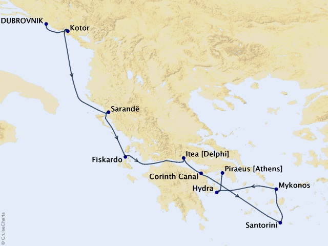 8-night Mediterranean & Adriatic Cruise  Map