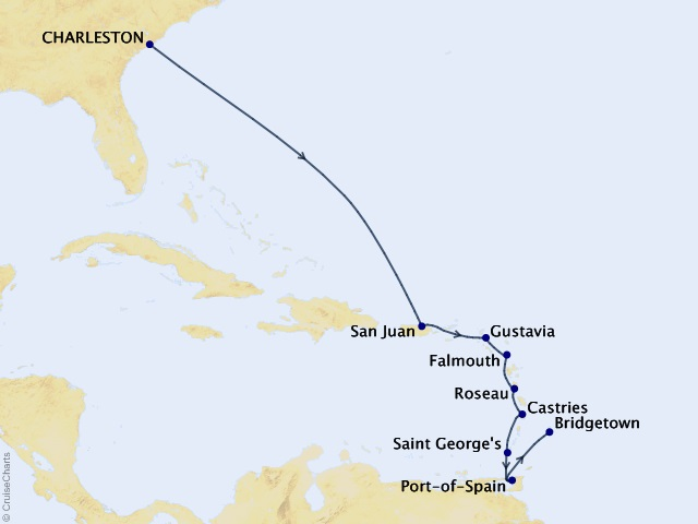 11-night Caribbean & Central America Cruise Map