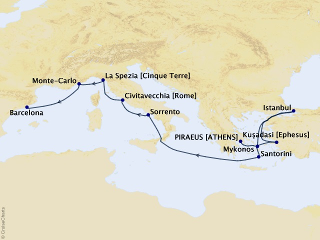 10-night Mediterranean from Athens to Barcelona – Italy, Greece, and Turkey Cruise Itinerary Map