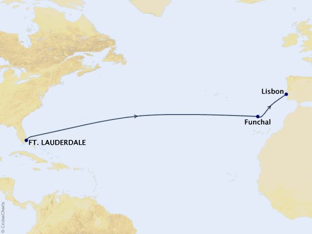 13-night Transoceanic Cruise Map
