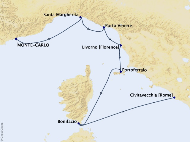 7-night Italy Intensive Voyage Map