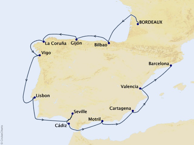 13-night Spain Intensive Voyage Itinerary Map