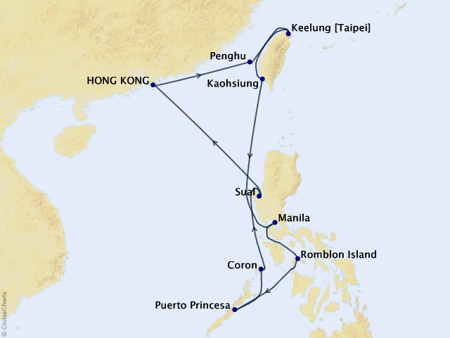12-night Asia Cruise Map