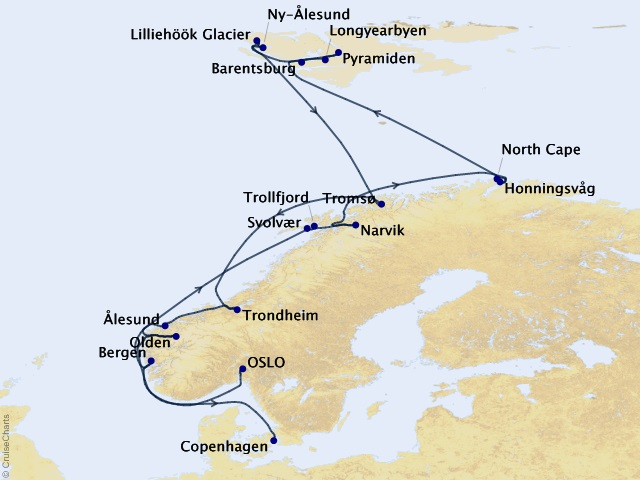18-night Spitsbergen & Norway Voyage Map