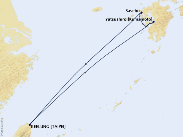 5-night Japan Islands Cruise Itinerary Map