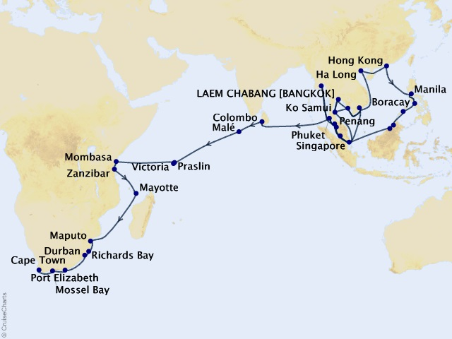 75-night Grand Journey – Southeast Asia & Africa Cruise